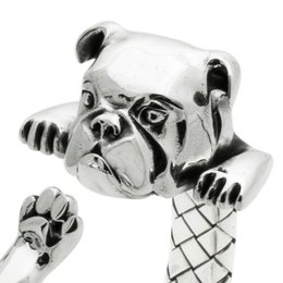 English Bulldog fine sterling silver heavy weight quality wrap hug bracelet from DOg Fever miniaturists and artisans made in Italy.