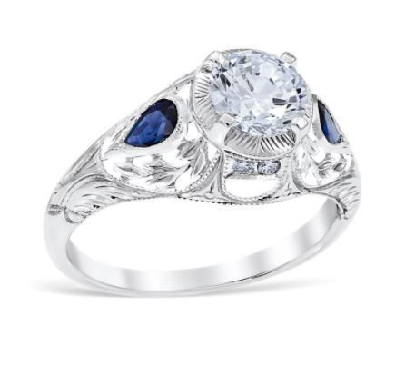 Vintage Diamond And Pear Sapphire Shaped Sides image 2