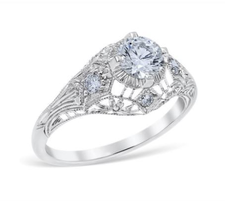 Vintage Open Filigree Round Diamond Antique Style Engagement Ring image 2
