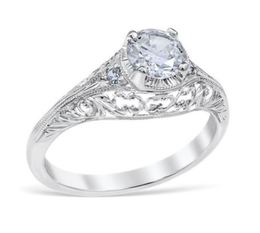 Antique Style Vintage Round Engagement Ring image 2