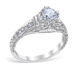 Vintage Style Geometric Filigree Engagement Ring image 2