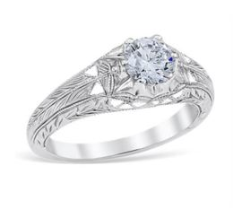 Vintage Style Lace Engraved Engagement Ring image 2