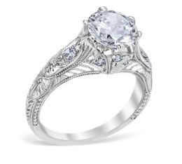 Antique Style Crown Filigree Engagement Ring image 2