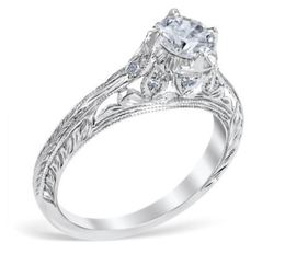 Antique Style Open Filigree Engagement Ring image 2
