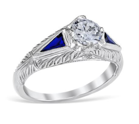 Vintage Round Diamond Trillion Sapphires Engagement Ring image 2