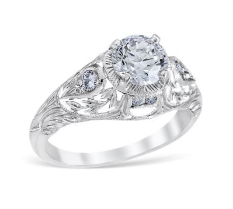 Antique Style Pear Shaped Filigree Size Engagement Ring image 2