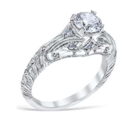Vintage Florentine Leaf Engagement Ring image 2