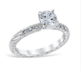 Vintage Engraved Diamond Engagement Ring image 2