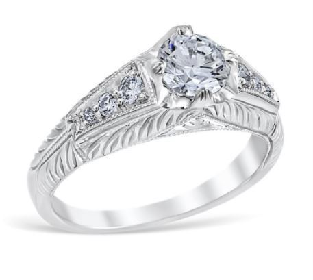 Vintage Pyramid Engraved Filigree Engagement Ring image 2