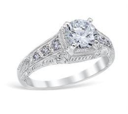 Vintage Square Top Round Center Filigree Engagement Ring image 2