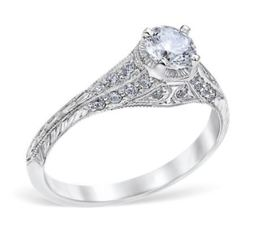 Vintage Victorian Style Crown Engagement Ring image 2