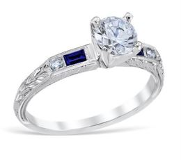 Vintage Sapphire Baguette and Diamond Engagement Ring image 2