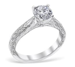 Vintage Leaf Motif Engraved Solitaire Engagement Ring image 2