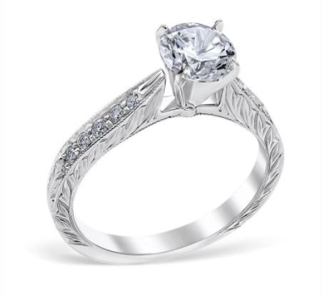 Vintage Style Leaf Motif Channel Engagement Ring image 2