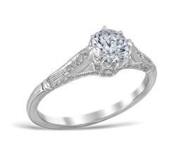Vintage Crown Style Diamond Set Sides Engagement Ring image 2