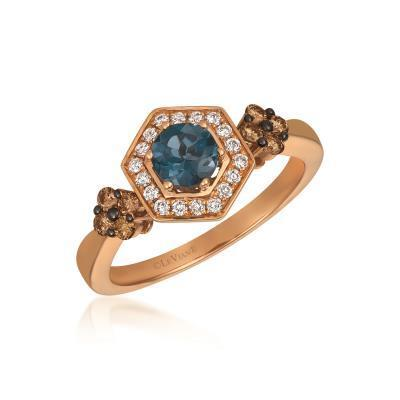 LeVian Deep Sea Blue Ring with Chocolate and Vanilla Diamonds image 2