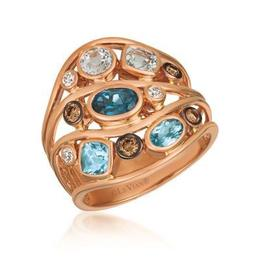 LeVian Multicolored Topaz and Chocolate and Vanilla Diamond Ring image 2