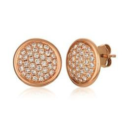 LeVian 14k Strawberry Gold 1ctw Cluster Nude Diamond Earrings image 2
