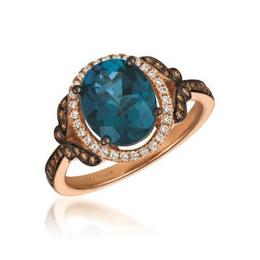LeVian 3ct Deep Sea Blue Topaz Ring with Chocolate and Vanilla Diamonds image 2