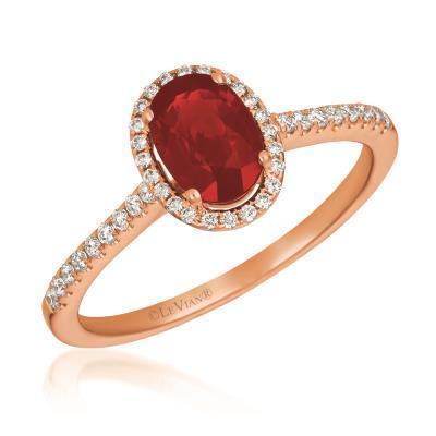 LeVian Passion Ruby Ring with Vanilla Diamonds in 14k Strawberry Gold image 2