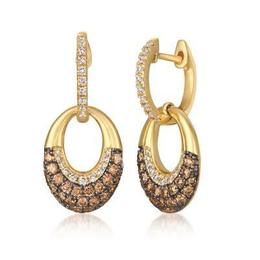 LeVian Honey Gold Chocolate and Vanilla Diamond Dangle Earrings image 2