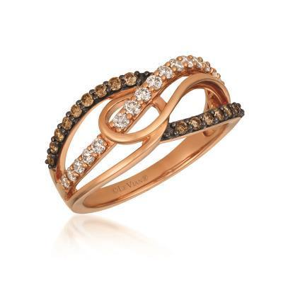 LeVian Nude and Chocolate Diamond Strawberry Gold Fashion Ring image 2