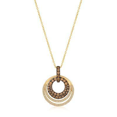LeVian Triple Circle Honey Gold Chocolate and Vanilla Diamond Pendant image 2
