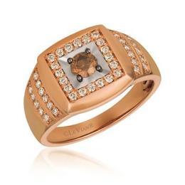 LeVian Strawberry and Vanilla Gold Signet Style Ring with Chocolate Diamond Center image 2