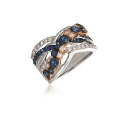 LeVian 14k Two Tone Blueberry Sapphire and Nude Diamond Fashion Ring image 2