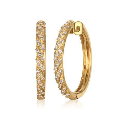 LeVian Nude Diamond Hoop Earrings in 14k Honey Gold image 2