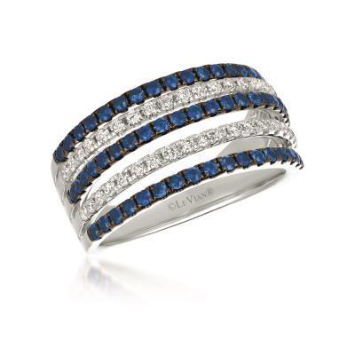 LeVian Blueberry Sapphire and Vanilla Diamond Five Row Band image 2