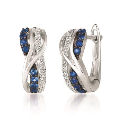 LeVian Blueberry Sapphire and Vanilla Diamond Twisted Hoop Earrings image 2