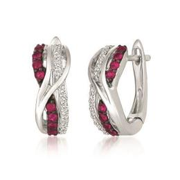 LeVian Passion Ruby and Vanilla Diamond Twisted Earrings image 2