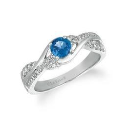 LeVian 3/8 ct Cornflower Ceylon Sapphire Ring with Vanilla Diamond accents image 2