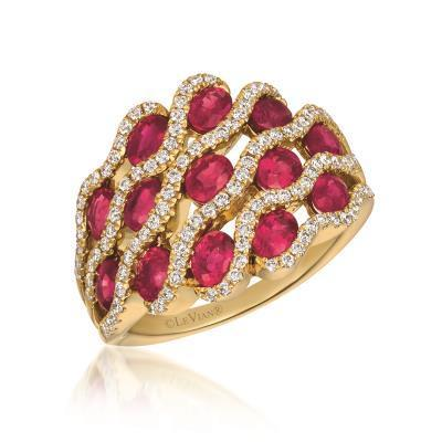 LeVian Strawberry Gold Passion Ruby Multi-Layered Ring with Vanilla Diamonds image 2