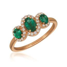 LeVian Costa Smeralda Emerald Three Stone Ring with Vanilla Diamond Halos image 2