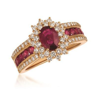 LeVian 14k Stawberry Gold Passion Ruby and Vanilla Diamond Ring image 2