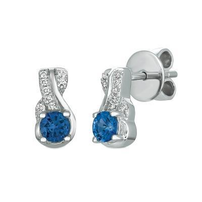 LeVian Cornflower Ceylon Sapphire Stud Twisted Earring with Vanilla Diamonds image 2