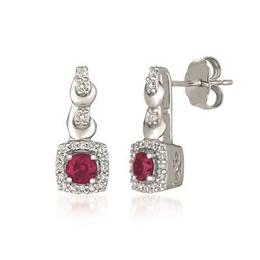 LeVian 14k Vanilla Gold Passion Ruby and Vanilla Diamond Drop Earring image 2