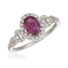 LeVian 7/8 ct Oval Passion Ruby Ring with Vanilla Diamond Accents image 2