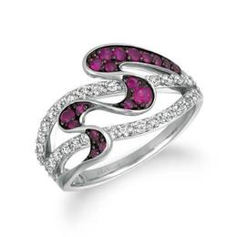 LeVian Passion Ruby and Vanilla Diamond Wave Pattern Fashion Ring image 2