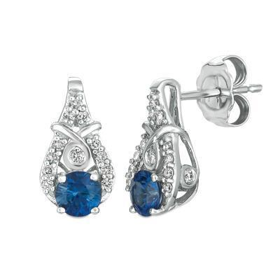 LeVian Blueberry Sapphire Stud Earring with Split Vanilla Diamond sides image 2