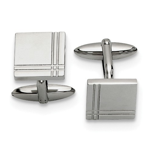 Polished Stainless Steel Men's Cufflinks image 2