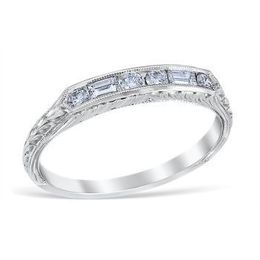 Vintage Style Baguette and Round Diamond Band image 2