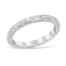Vintage Floral Engraved Wedding Band image 2