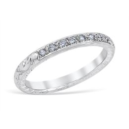Vintage Inspired Engraved and Diamond Wedding Band image 2
