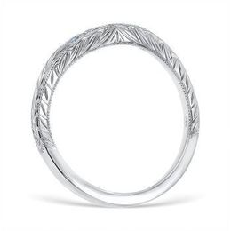 Vintage Diamond Band with Vine and Leaf Pattern Engraving image 3