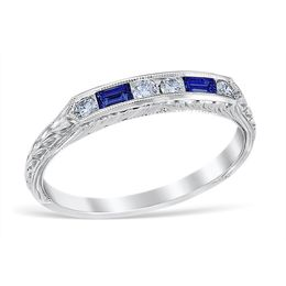 Vintage Sapphire and Diamond Wedding Band image 2