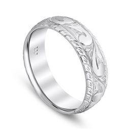 Western Scroll Work Engraved Wedding Band image 2