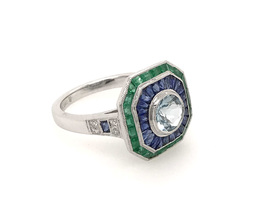 Estate Style Aquamarine Ring with Diamond, Sapphires and Emeralds image 1